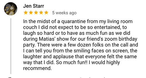 Jen S. Virtual Magic Show Testimonial