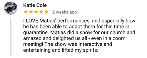 Katie C. Virtual Magic Show Testimonial