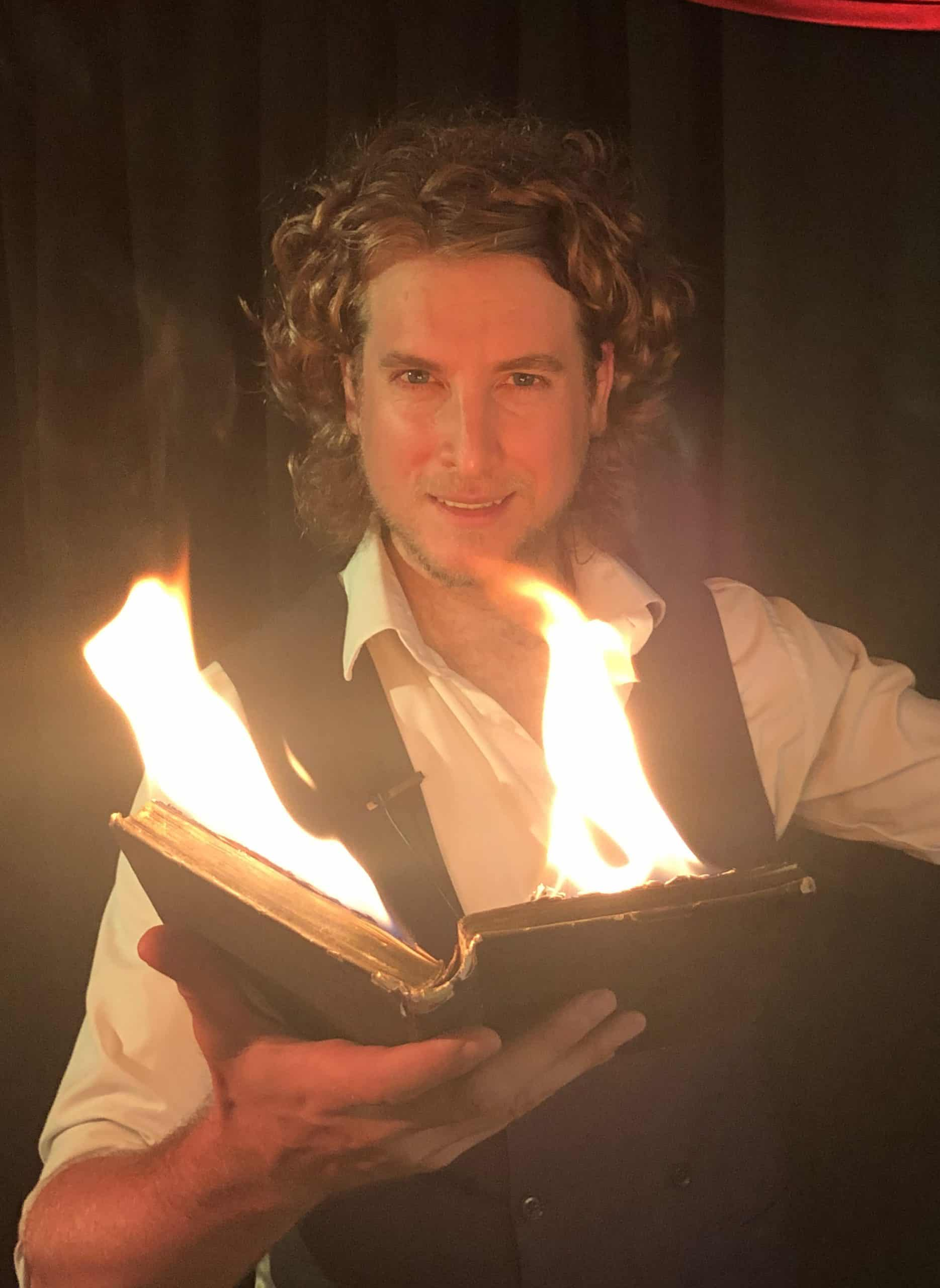 Online magic show Greenwich fire