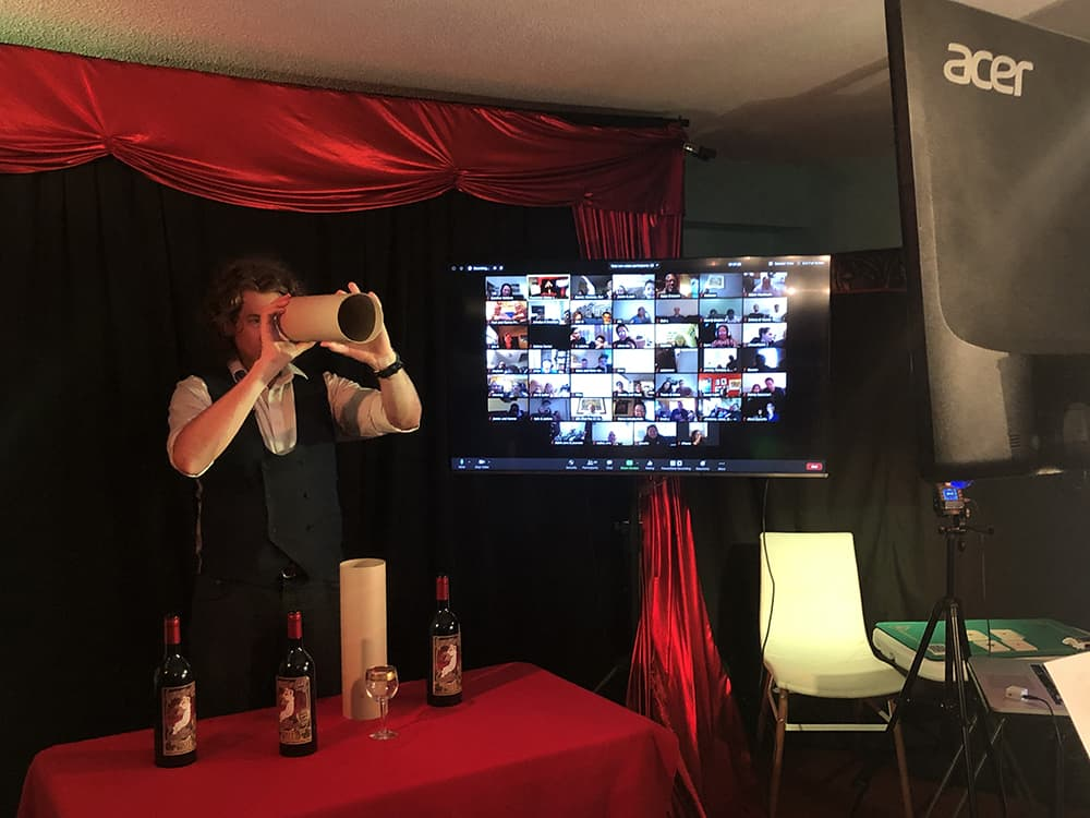 Virtual magic show Long Island wine